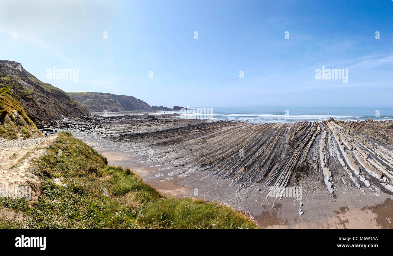 Welcombe Mouth is a very secluded and quiet beach just over the border in Devon. This hidden gems is part of a Site - Stock Image
