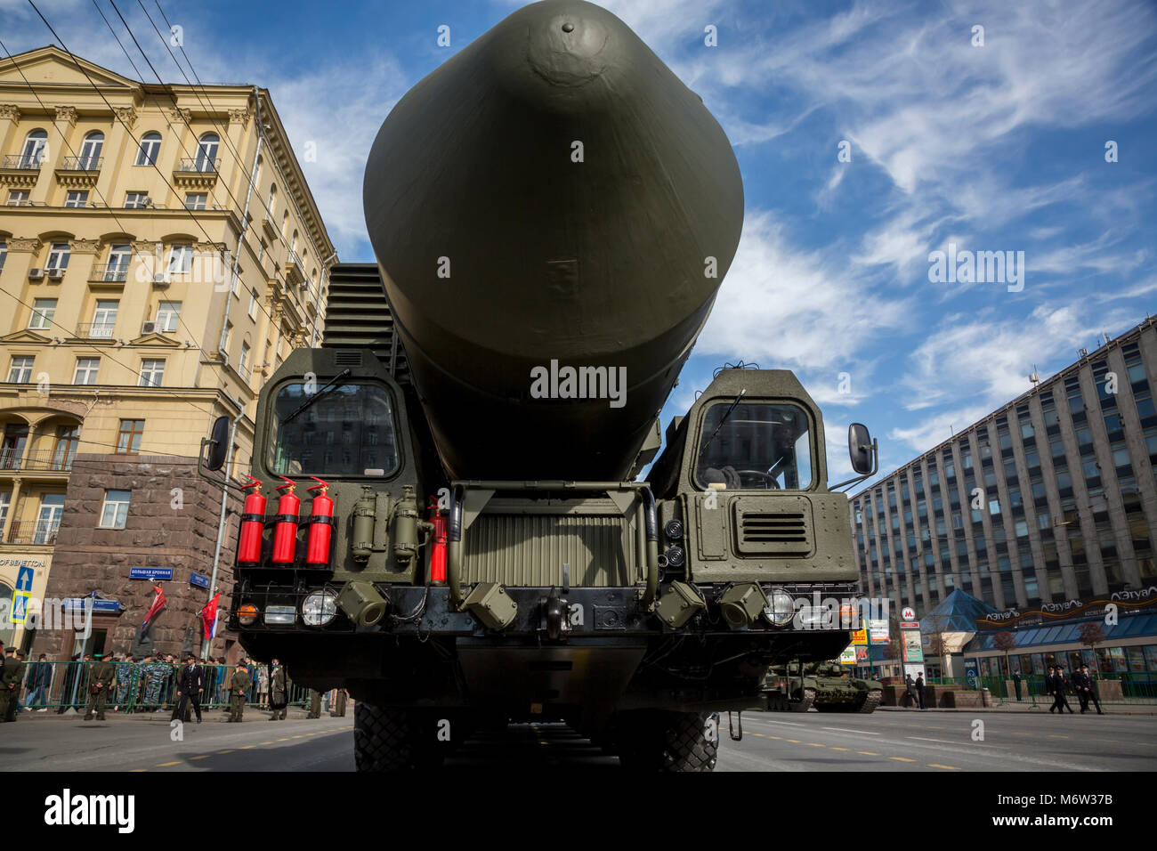 A YARS RS-24 solid propellant inter-continental ballistic missile moves through Moscow's Tverskaya street during - Stock Image