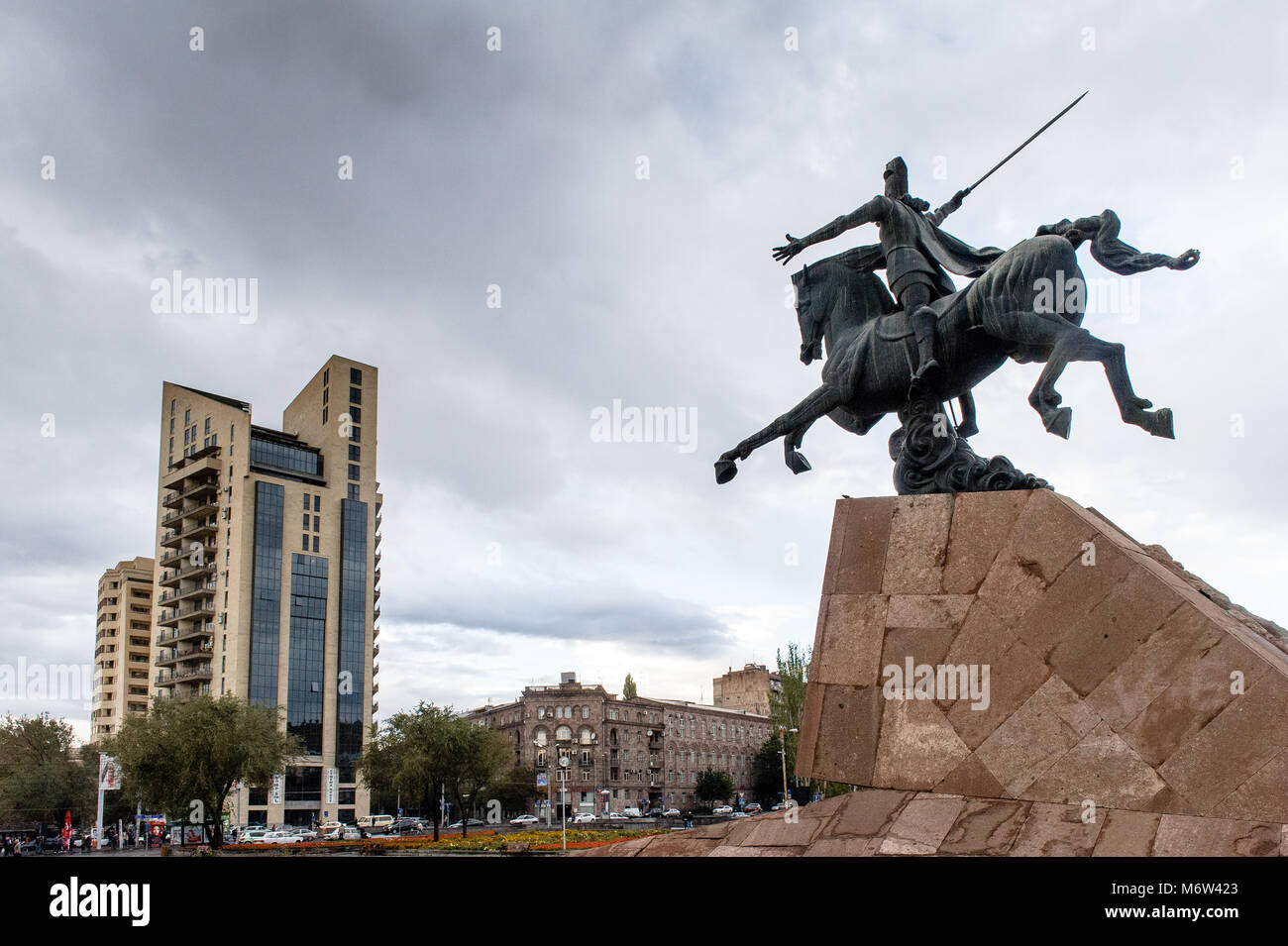 Armenian military leader Vardan Mamikonian's statue.He is best known for leading the Armenian army at the Battle Stock Photo