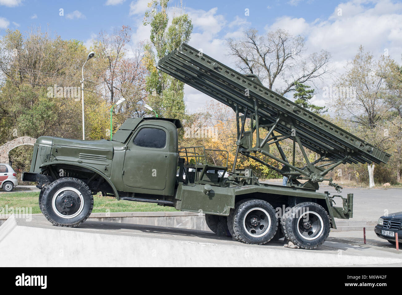 Soviet Union Katyusha rocket launcher from World War II in Victory Park, Yerevan - Stock Image