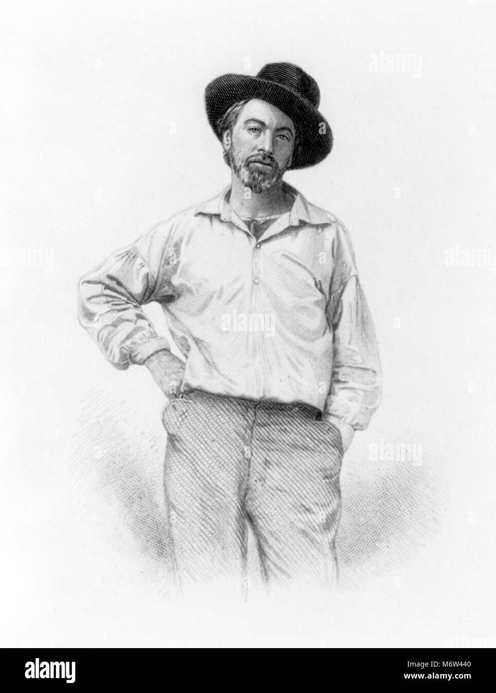 Walt Whitman (1819-1892), engraving of the American poet as a young man by Samuel Hollyer, 1854 - Stock Image