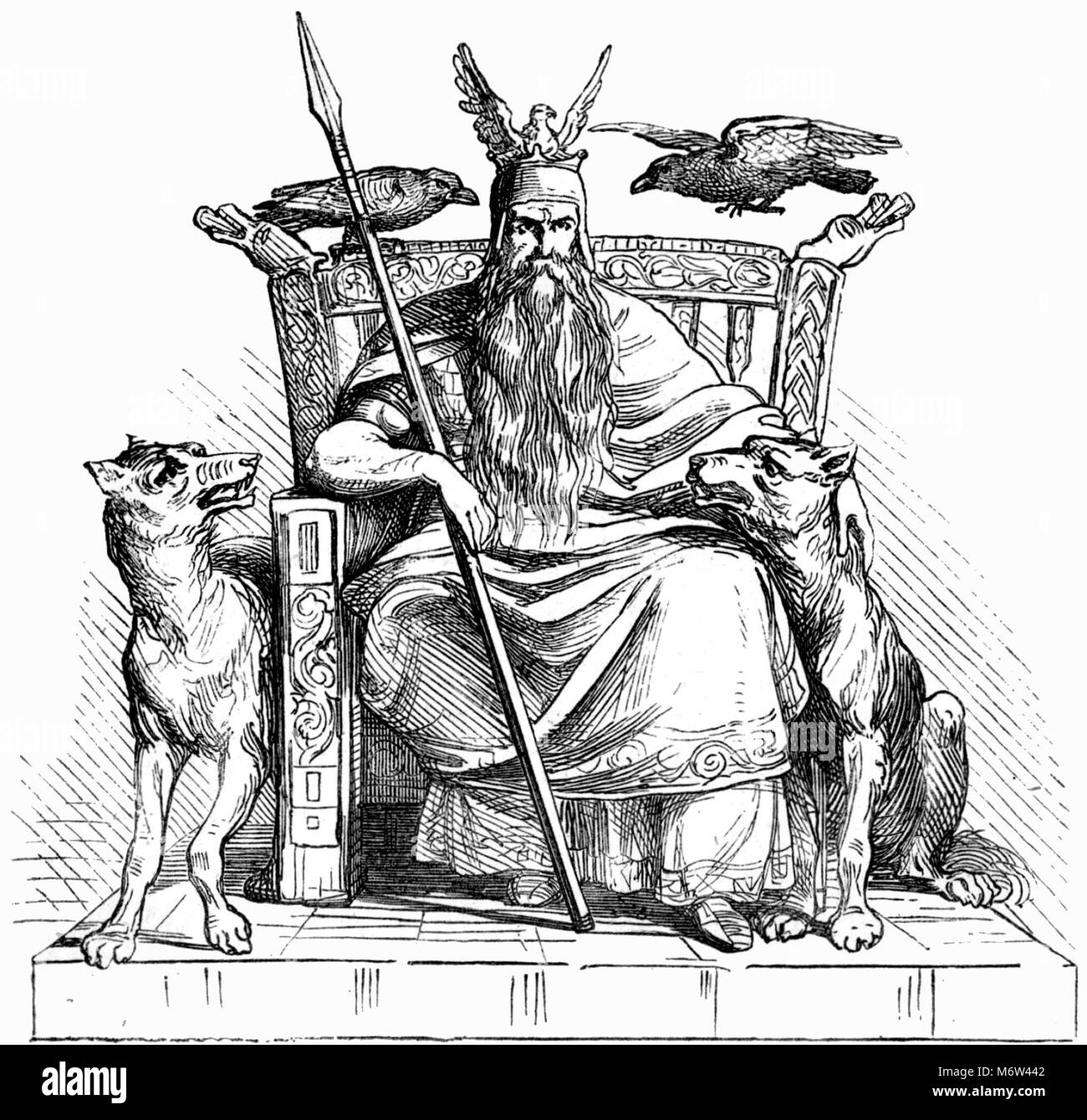 The Norse god Odin with his two wolfs, Geri and Freki, and his two ravens, Huginn and Muninn, and holding his spear - Stock Image