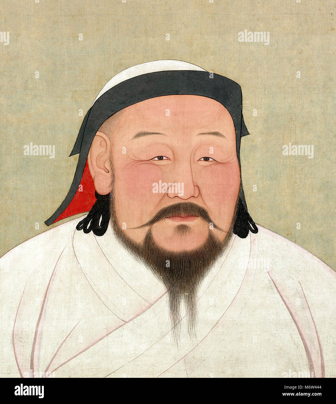 Kublai Khan (c.1215-1294), portrait of the fifth Khagan (Great Khan) of the Mongol Empire, paint and ink on silk, - Stock Image