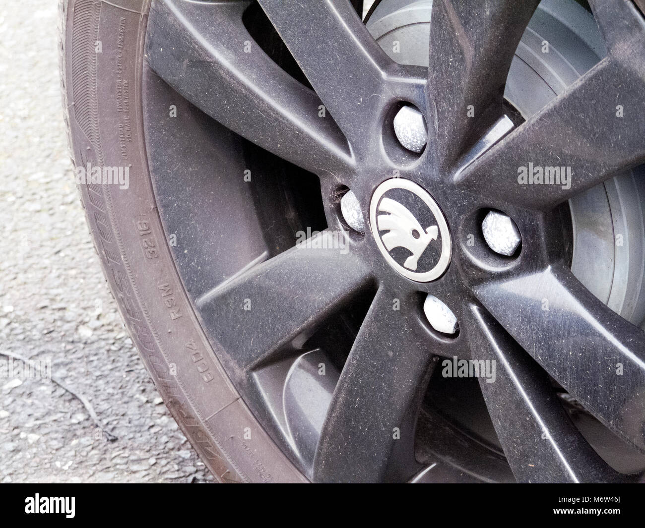 Skoda alloy wheel on four wheel drive vehicle, Czech automobile manufacturer founded in 1895 as Laurin & Klement - Stock Image