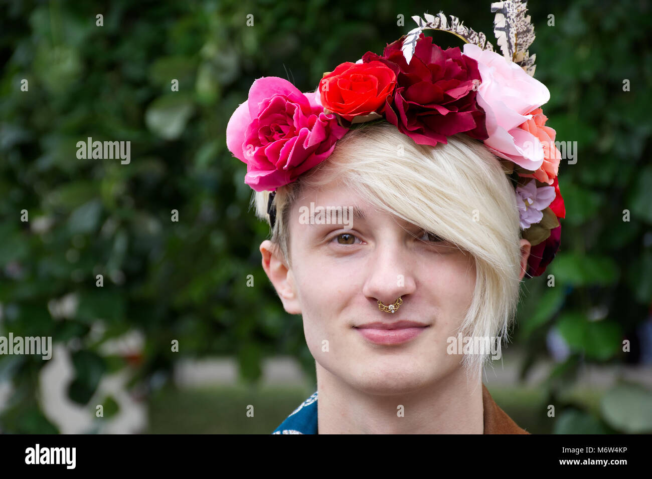 Breaking male gender stereotype,Transgender Uk,LGBT.Man wearing makeup.LGBT Pride event,Stoke on Trent,Staffordshire,United - Stock Image
