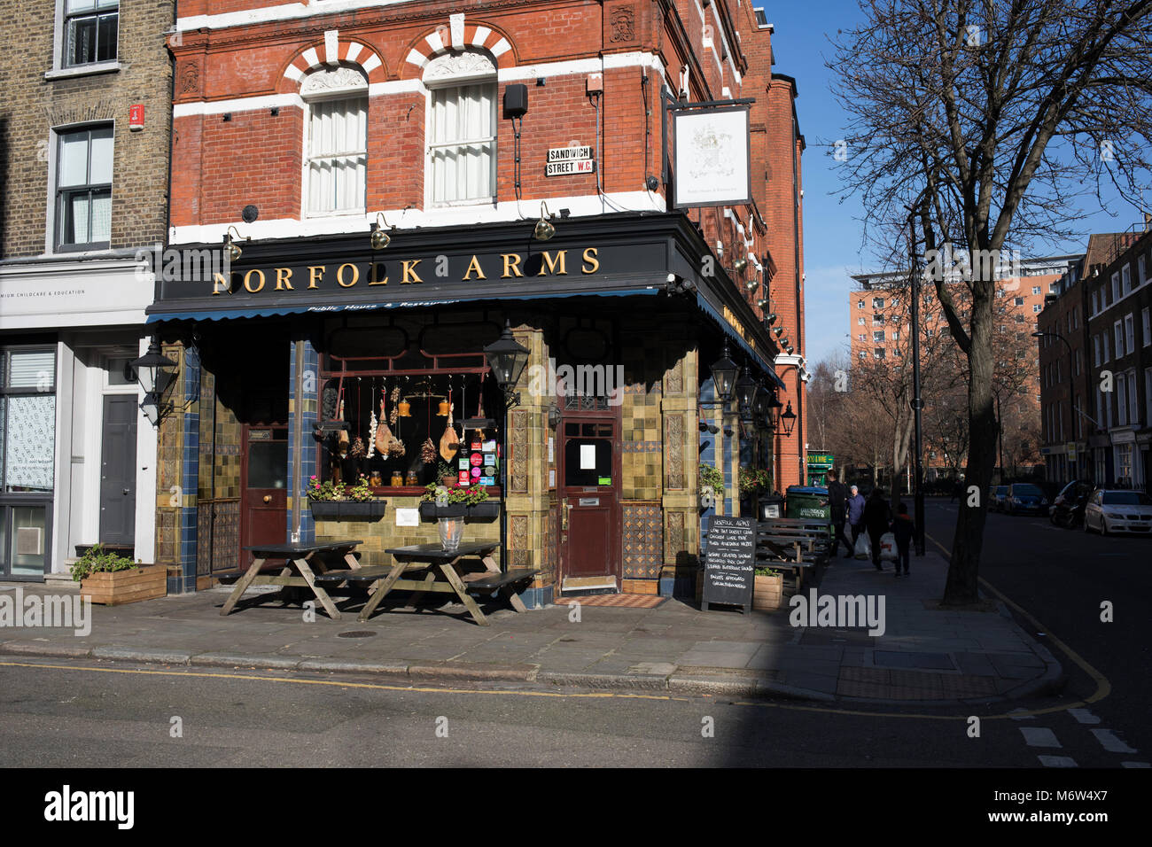 Norfolk Arms pub in London, England, United Kingdom. (photo by Mike Kemp/In Pictures via Getty Images) Stock Photo