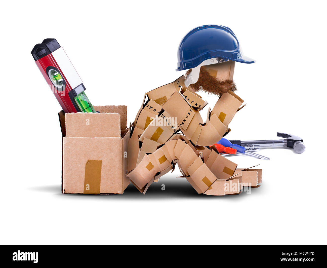 Box character digital character workman with hard hat sat resting against a toolbox. bearded worker and tools isolated - Stock Image