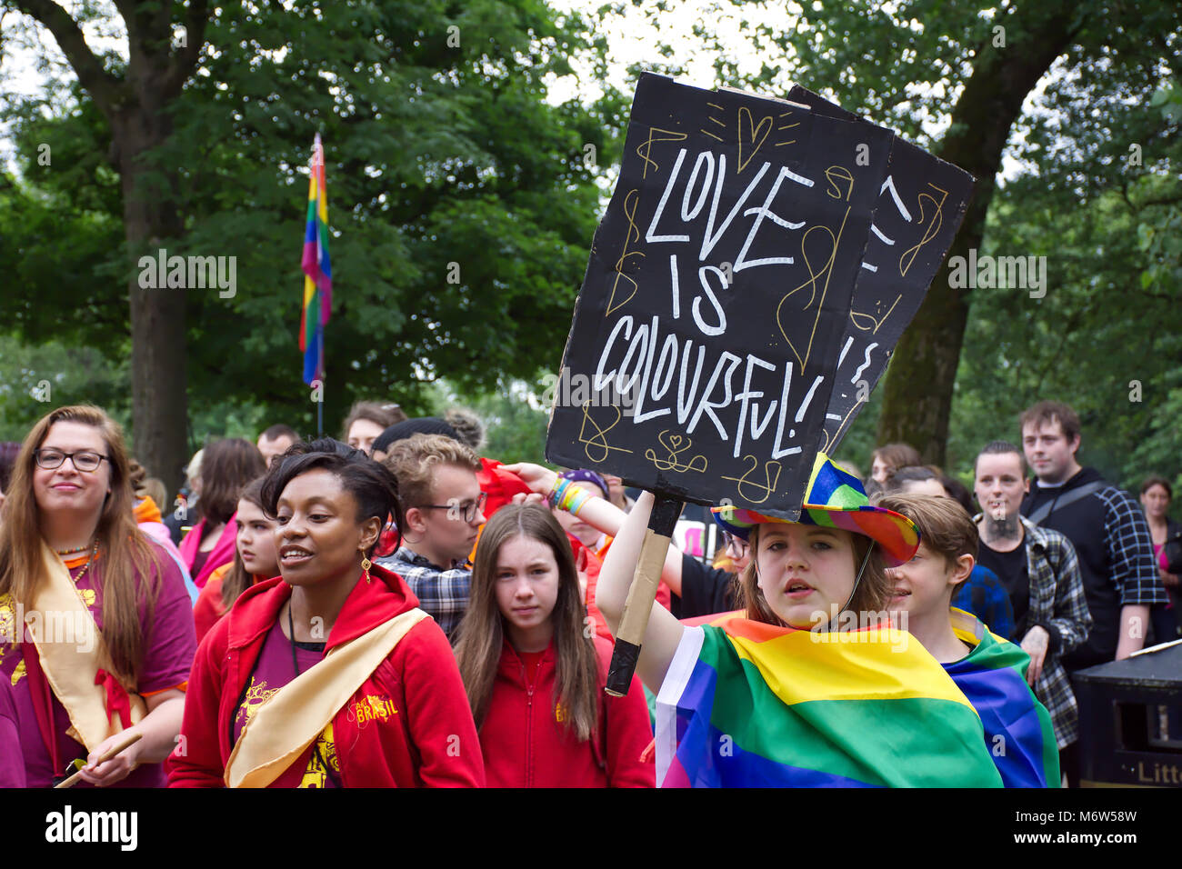LGBT pride event in Hanley park,Stoke on Trent,Uk.24th June,2017.People taking part in pride parade. - Stock Image
