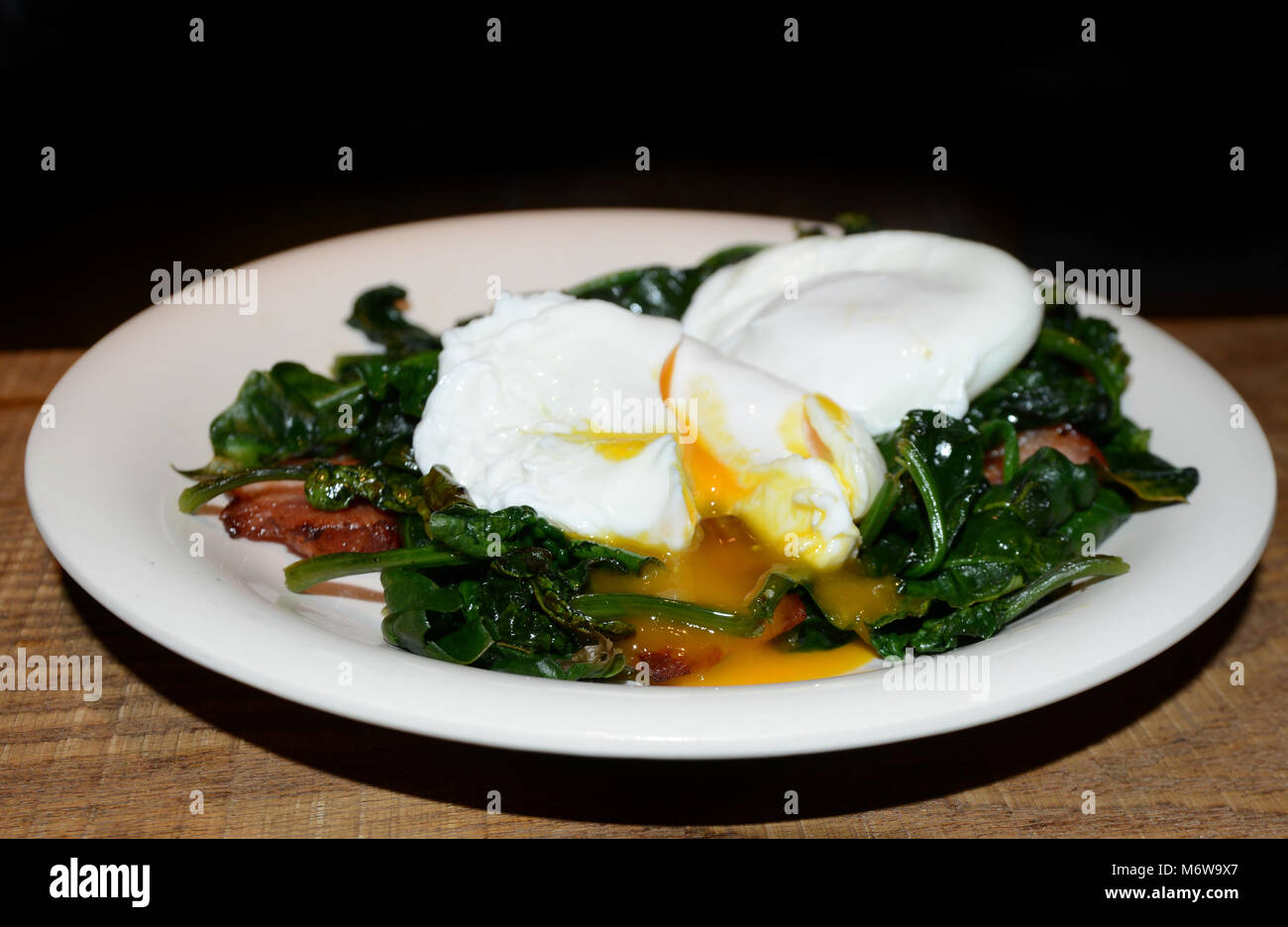 A plate of Eggs Florentine. - Stock Image