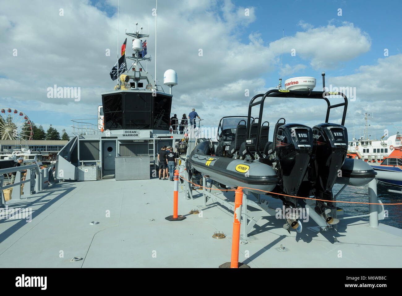 """Deck and bridge of the  Sea Shepherd's custom-built, high speed patrol ship, the """"Ocean Warrior"""", with inflatable Stock Photo"""