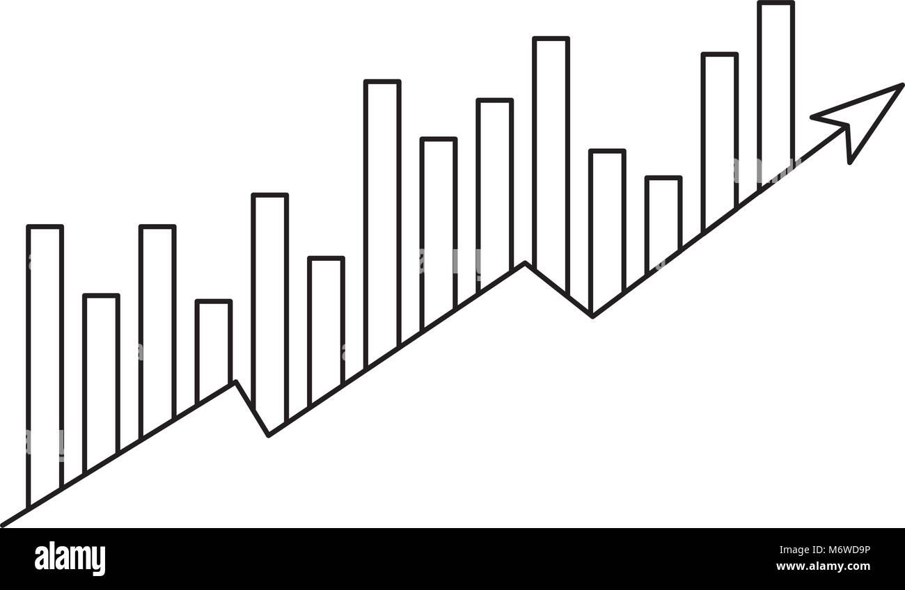 arrow and bars growth icon - Stock Image