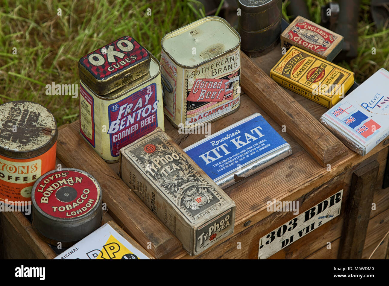 Display of wartime food supplies and confectionary. - Stock Image