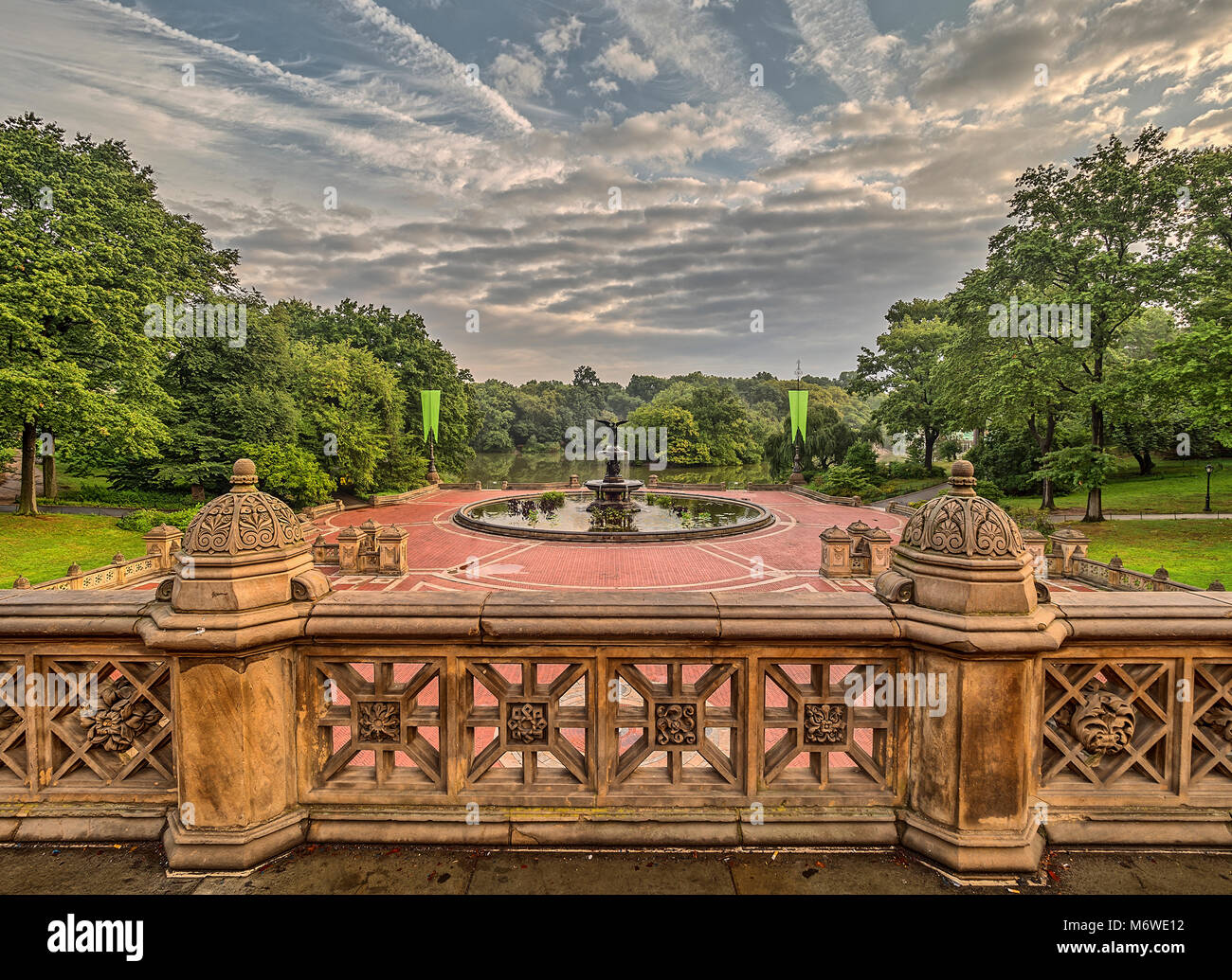 Bethesda Terrace and Fountain overlook The Lake in New York City\'s ...