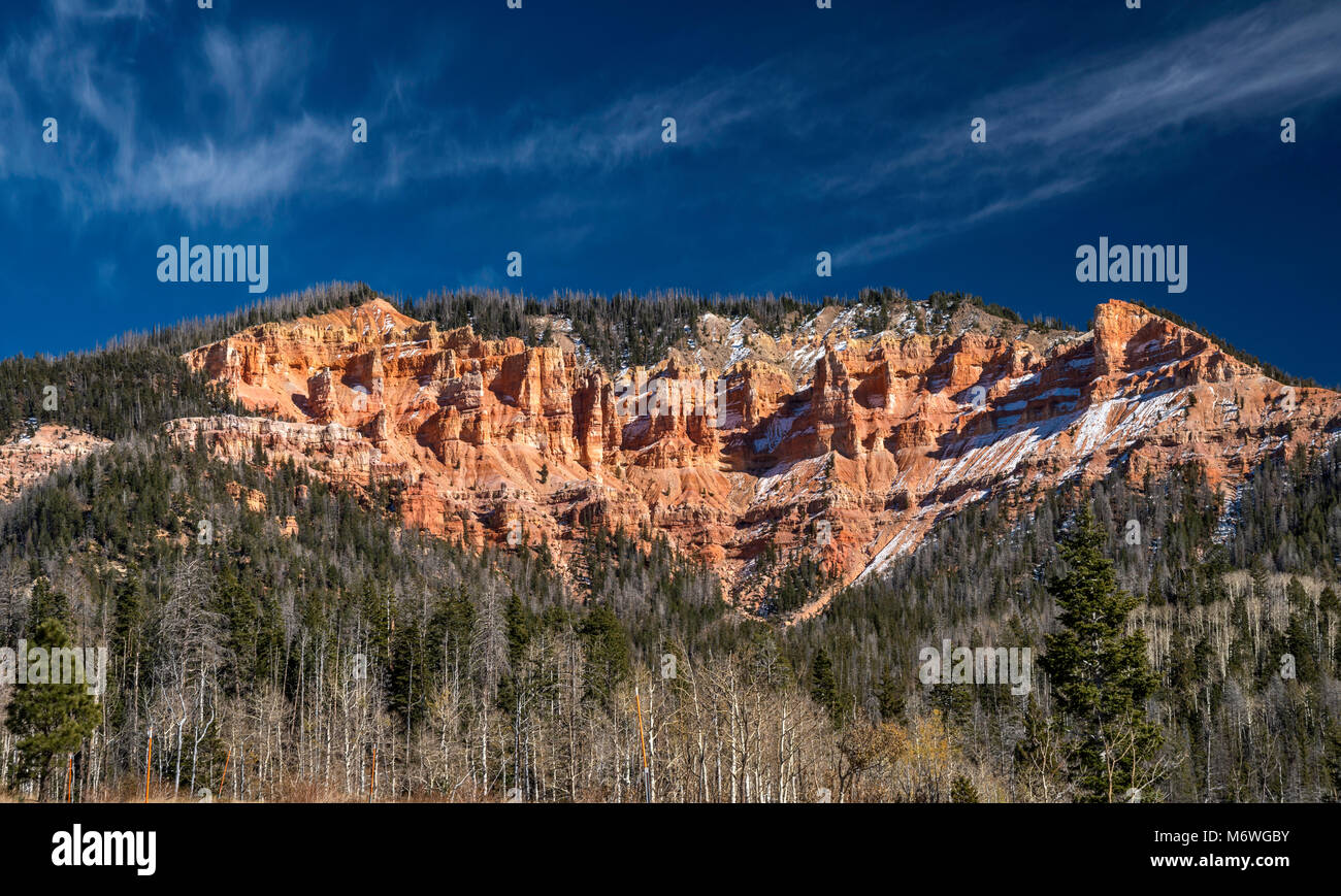 Rock formations at Markagunt Plateau, seen in late October from Highway 14 near Cedar Breaks National Monument, - Stock Image