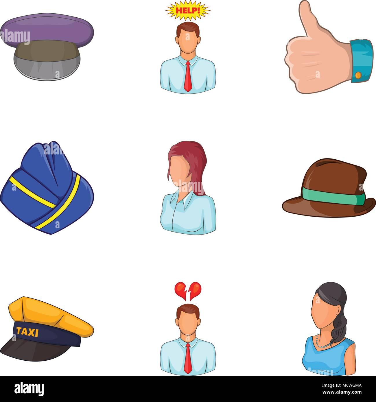 Description of personnel icons set, cartoon style - Stock Image