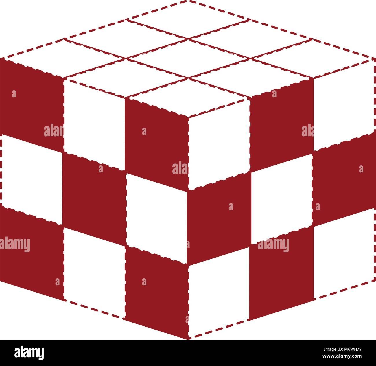 cubic matrix geometric icon - Stock Image