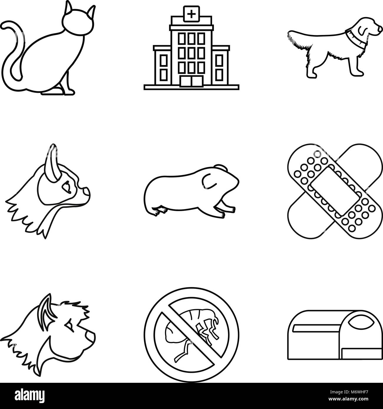 Veterinary surgeon icons set, outline style - Stock Image