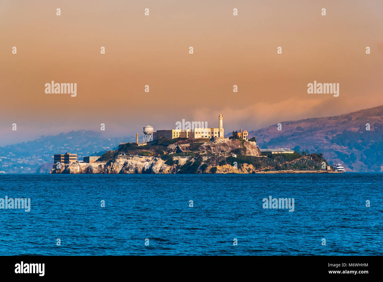Alcatraz Island, San Francisco, California  facilities for a lighthouse, a military fortification, a military prison - Stock Image