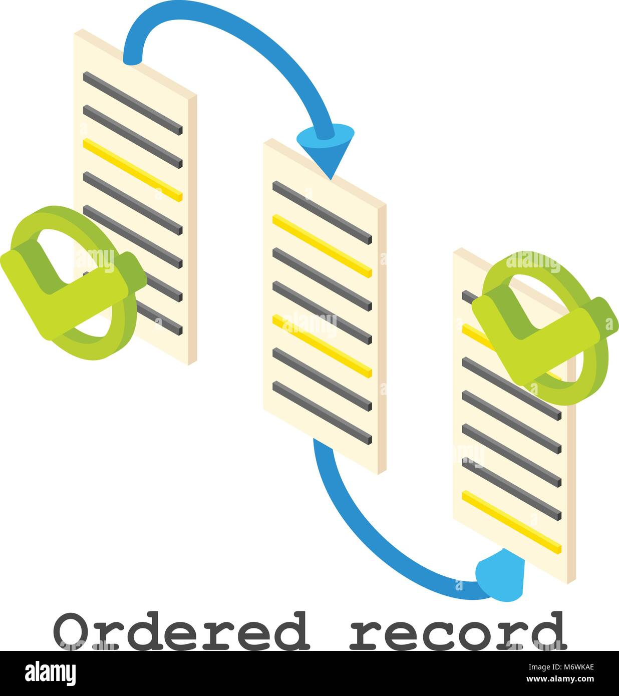 Ordered record icon, isometric style - Stock Vector