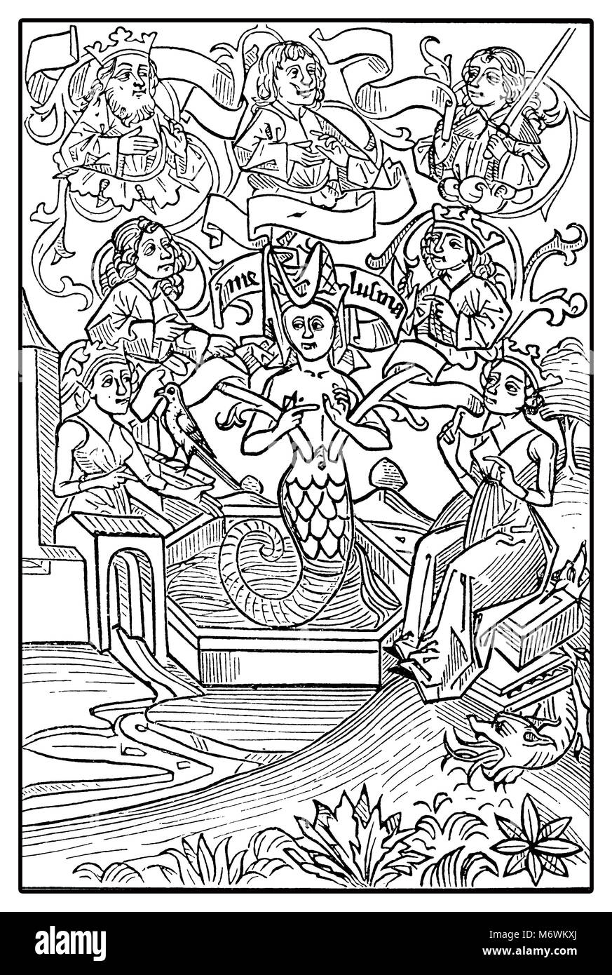 Middle Ages European folklore: fairy Melusine, half woman and half fish, vintage engraving - Stock Image