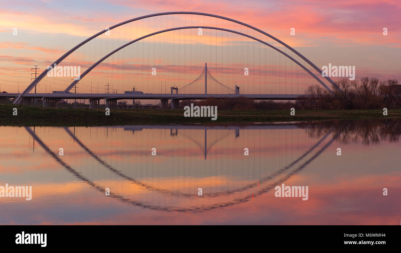 This is the picture of Reflection of Margaret Hunt Hill Bridge and Margaret McDermott Bridge during Sunset from - Stock Image