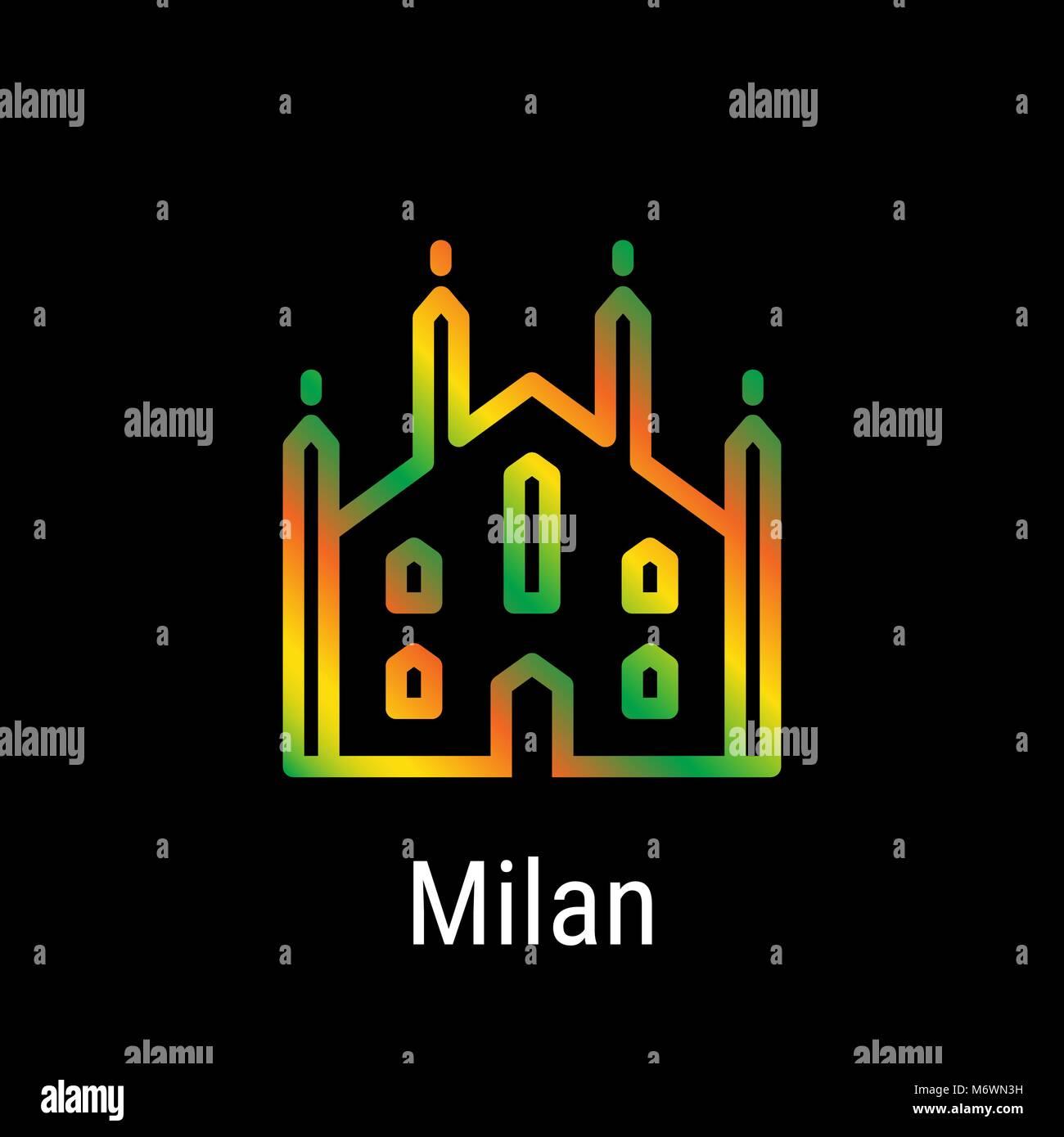 Milan, Italy Vector Line Icon - Stock Vector