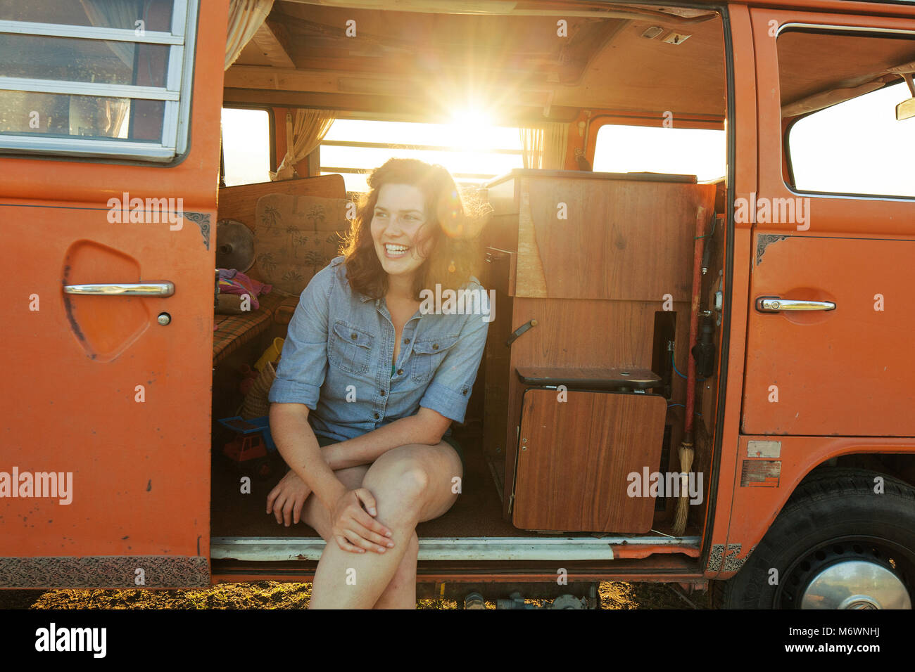 Woman in her van - Stock Image