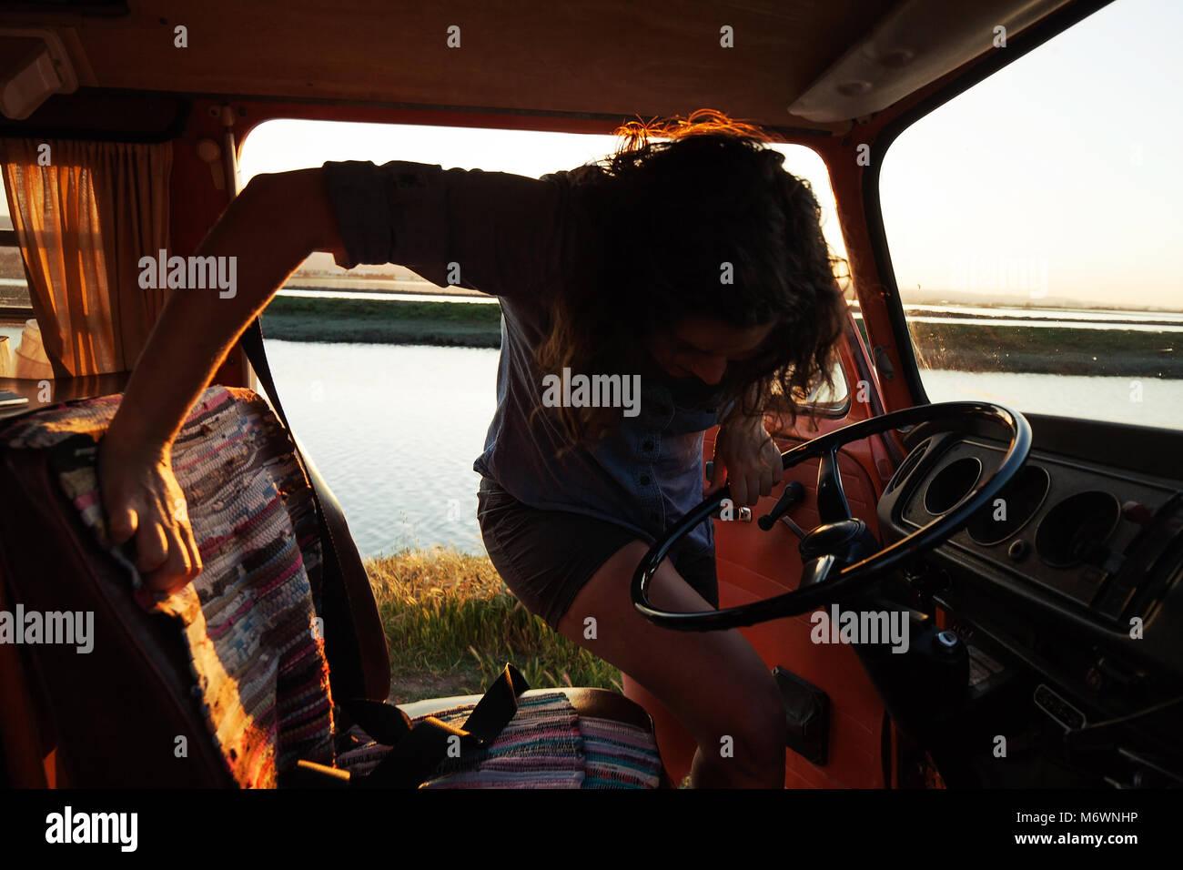 Woman in her van - Stock Image