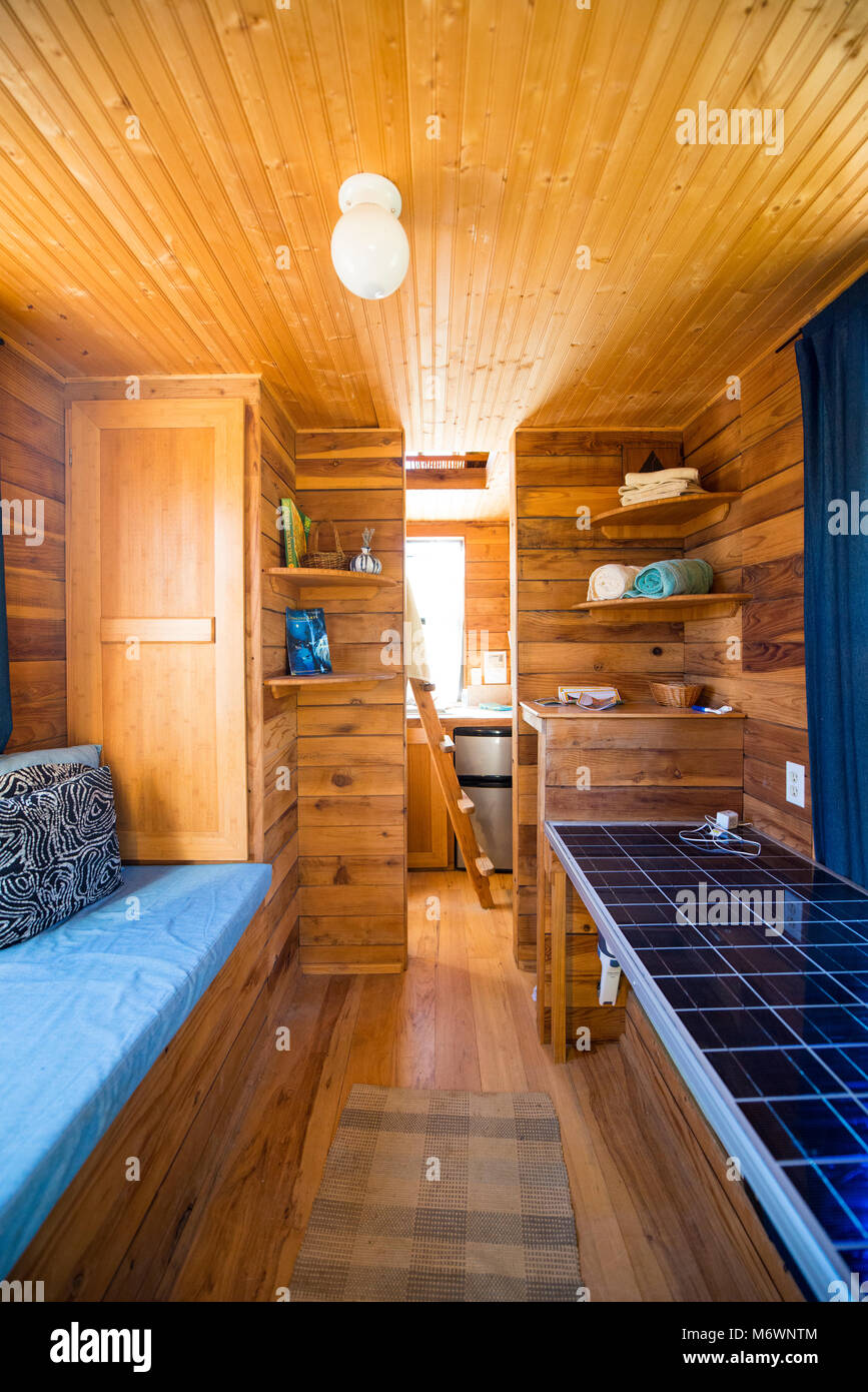 The Interior Of The Tumbleweed Tiny House (a Tiny House Available As A  Hotel) At The Solar Living Institute In Hopland, California.