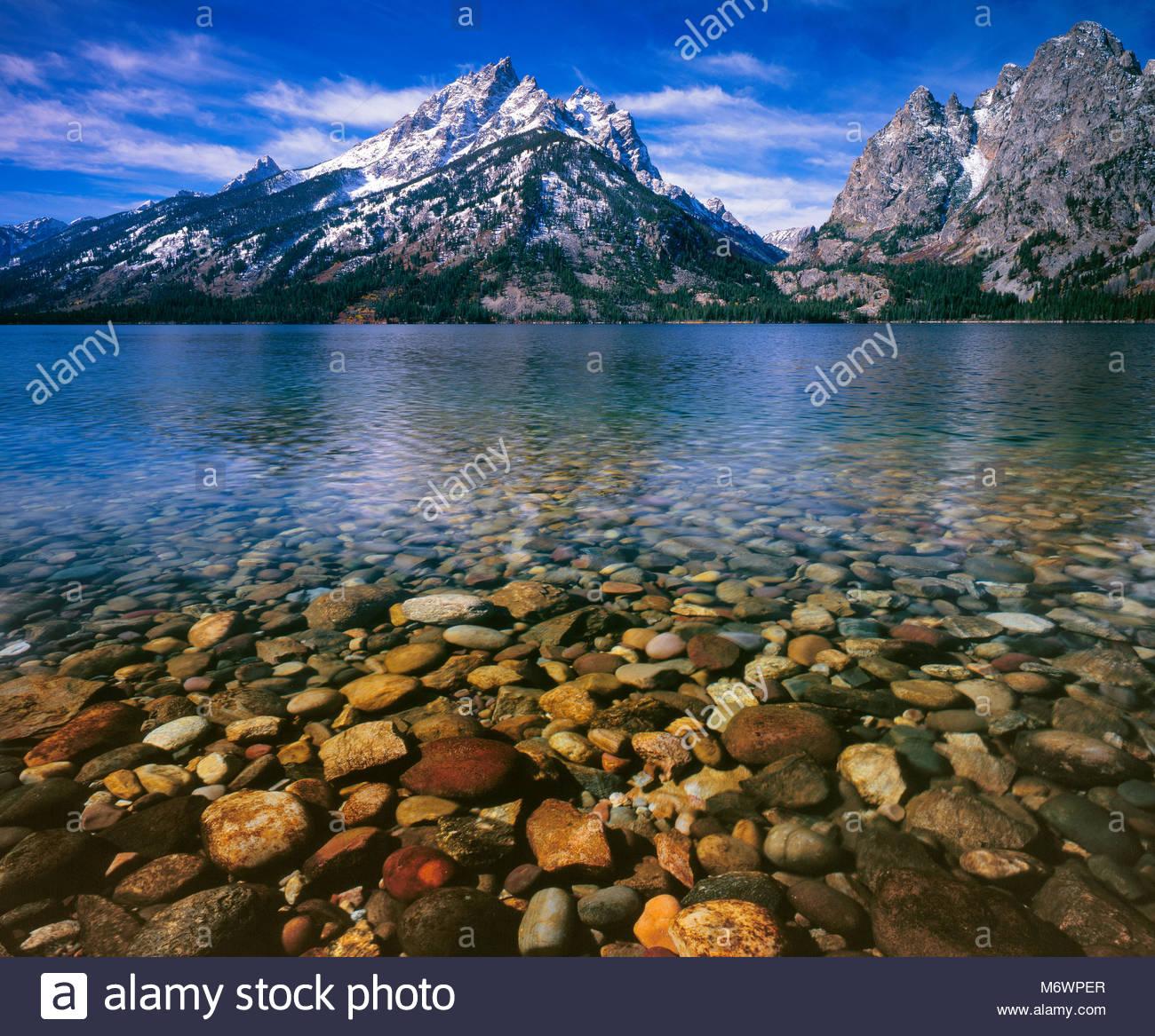 Jenny Lake, Cascade Canyon, Mount Teewinot, Grand Teton National Park, Wyoming Stock Photo