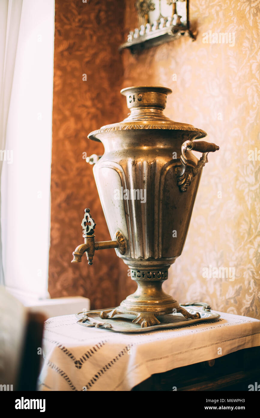 Russian Traditional Samovar. A Samovar Is A Heated Metal Container Traditionally Used To Heat And Boil Water In - Stock Image