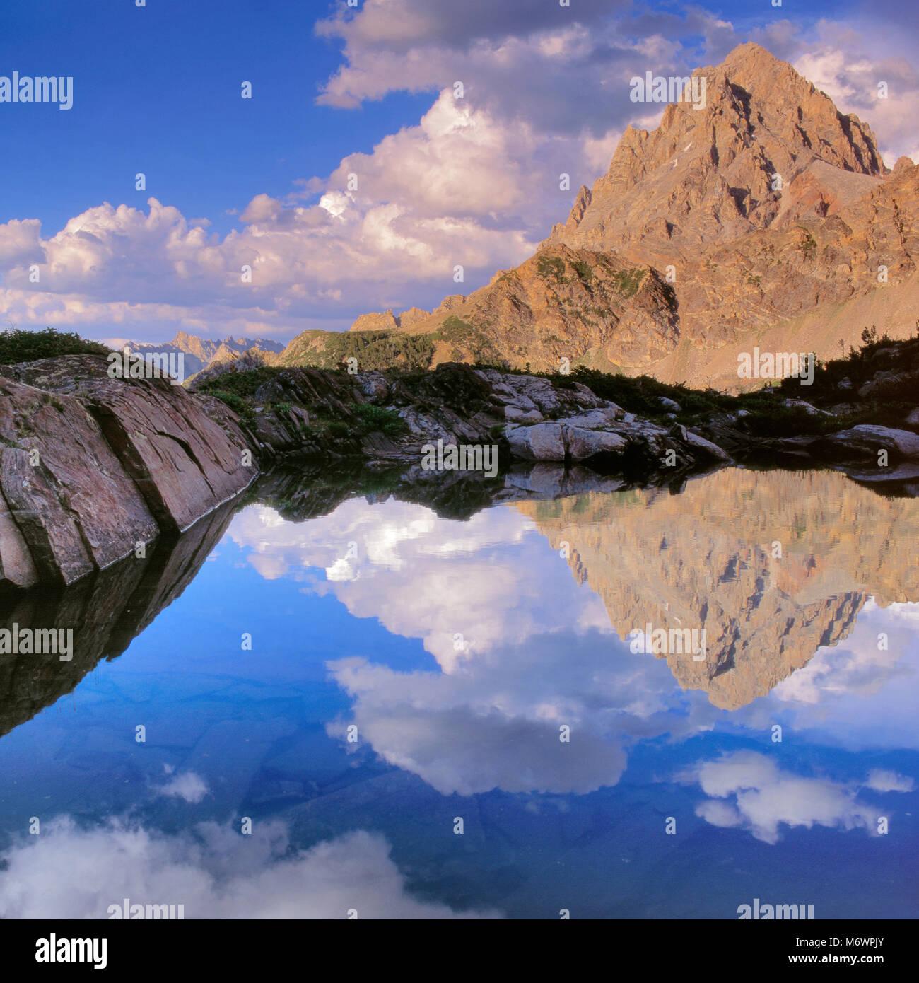 The Grand Teton, from Schoolroom Glacier area, Grand Teton National Park, Wyoming Stock Photo