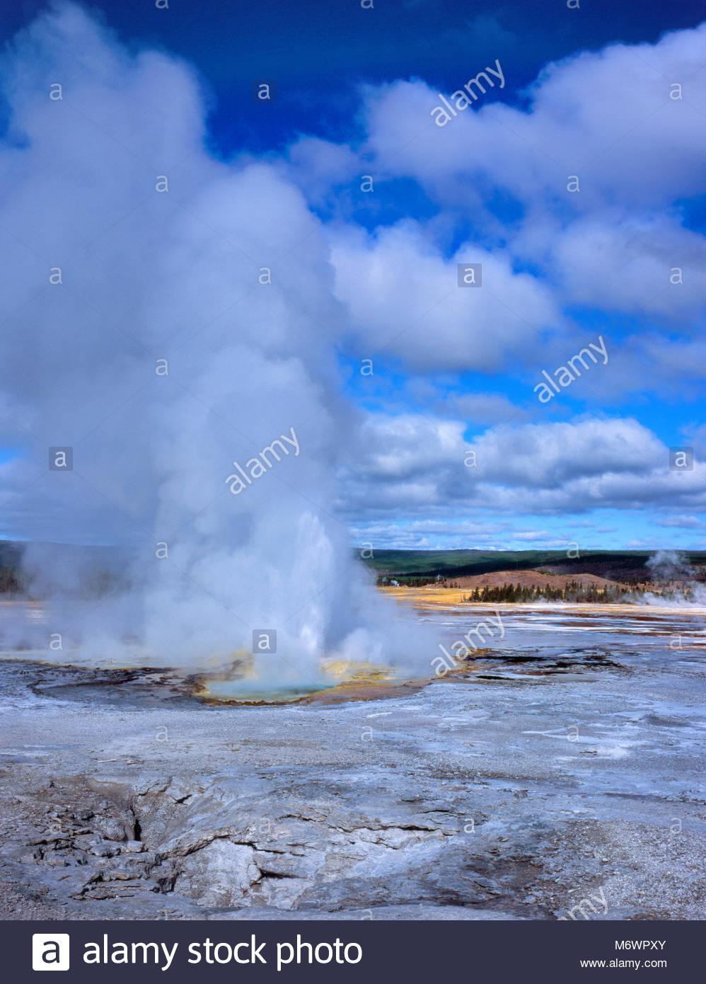 Clepsydra Geyser, Fountain Paint Pot Basin, Yellowstone National Park, Wyoming - Stock Image