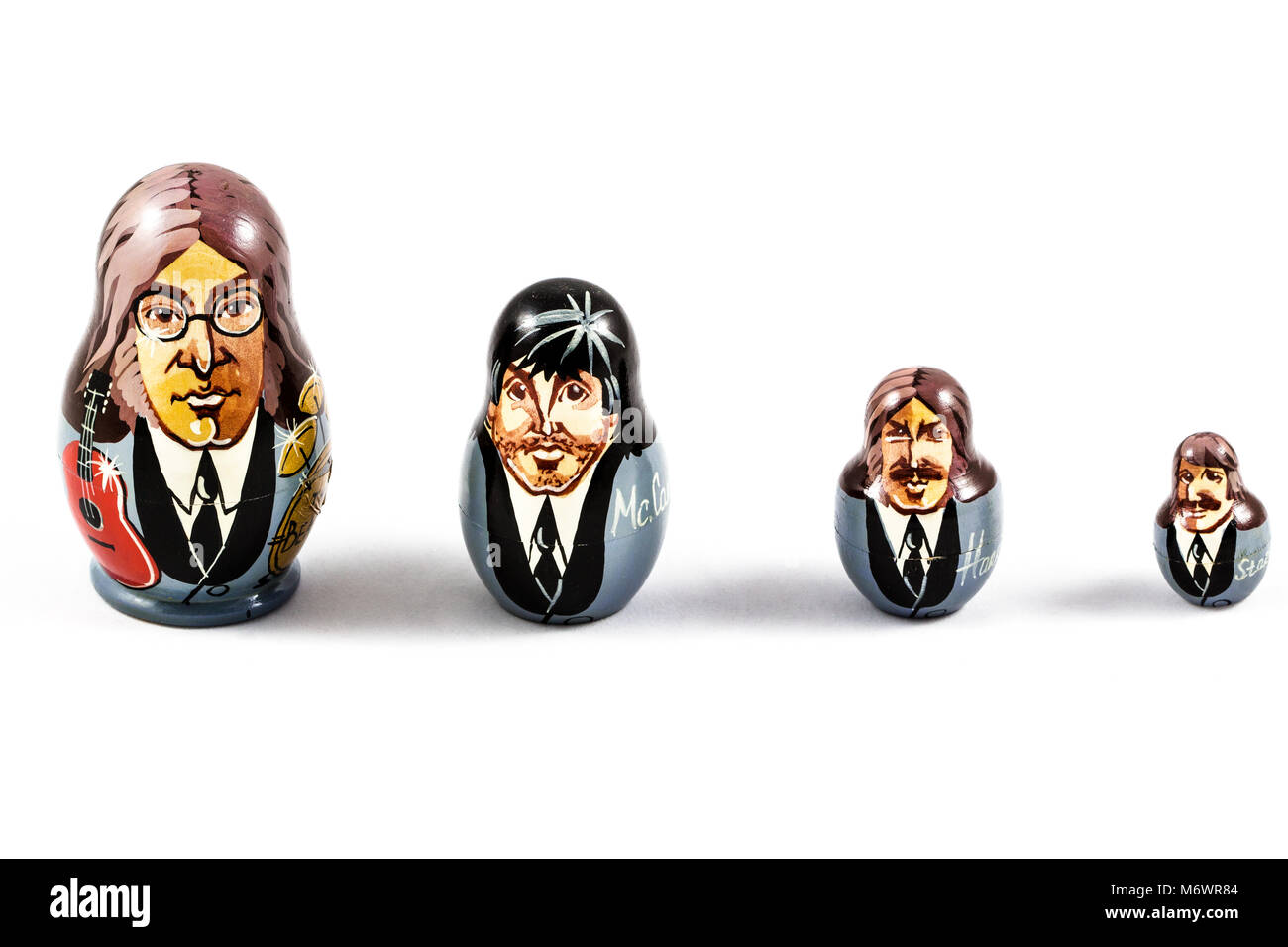 England Liverpool  - August 25, 2016 . Russian traditional nested dolls - matryoshka. Dolls have a portrait of The - Stock Image