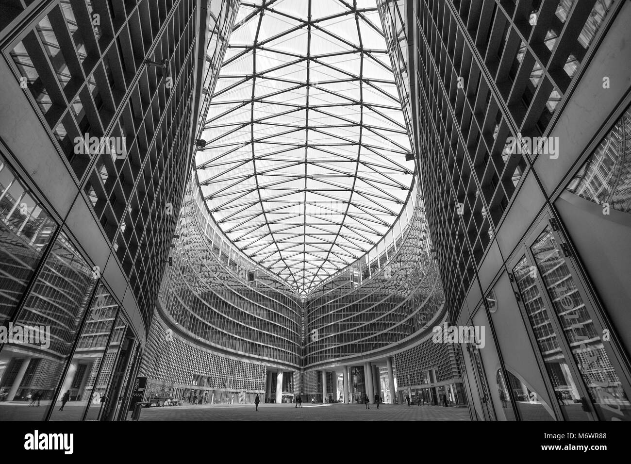 MILAN, ITALY, MARCH 28, 2017. Inner courtyard of Palace of the Regional Government of Lombardy, modern architecture, - Stock Image