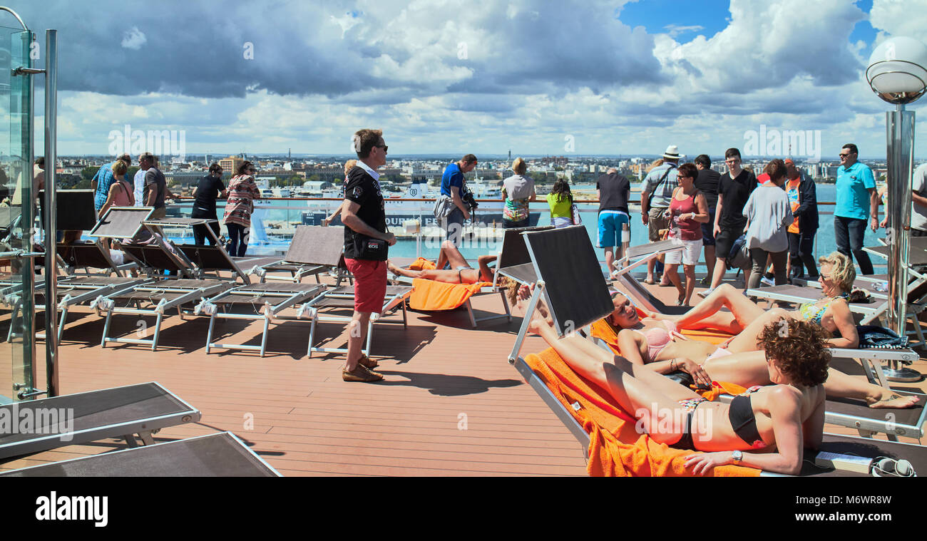 Europe, Italy,Puglia, Bari city, the modern city and the harbour,  View of the cruise ship deck - Stock Image