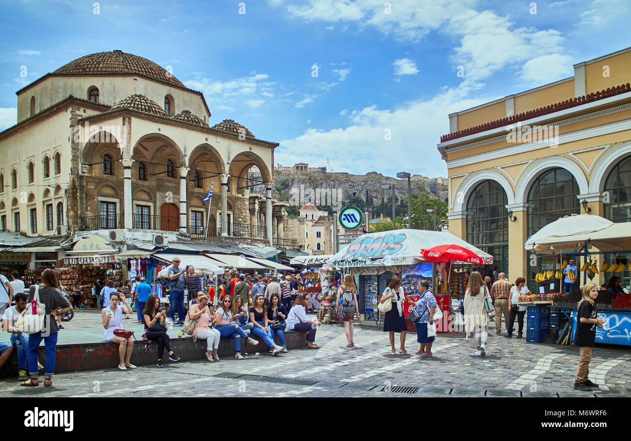 Europe, Greece, view of famous Monastiraki square crowded with people, Athens, - Stock Image