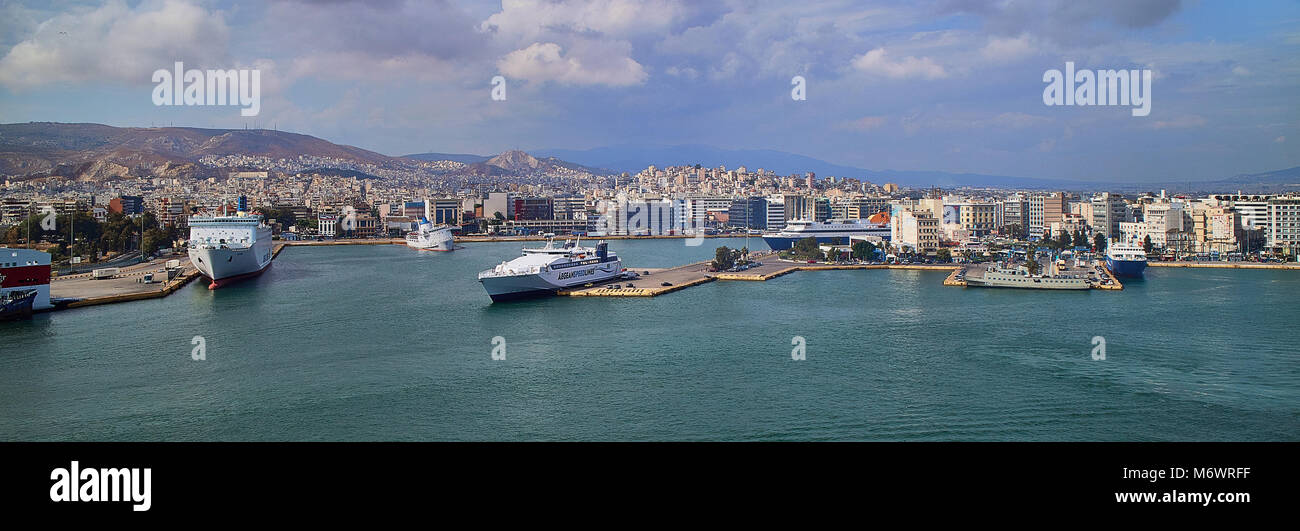 Europe, , Athens,Piraeus Greece is the largest port in Europe and the third largest in the world for passengers, - Stock Image