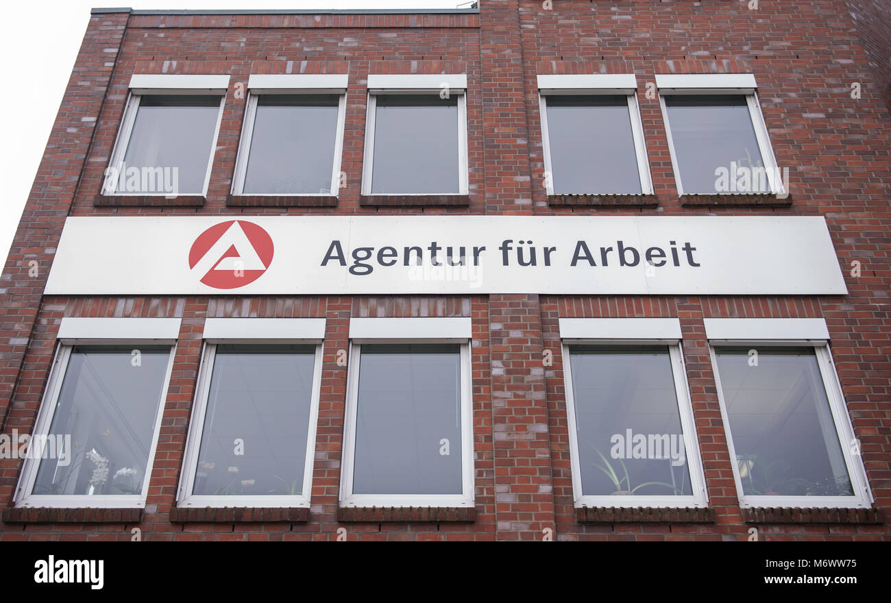 "22 Febuary 2018, Germany, Schwerin: View onto the German employment agency ""Agentur fuer Arbeit"". Prime Minister Stock Photo"