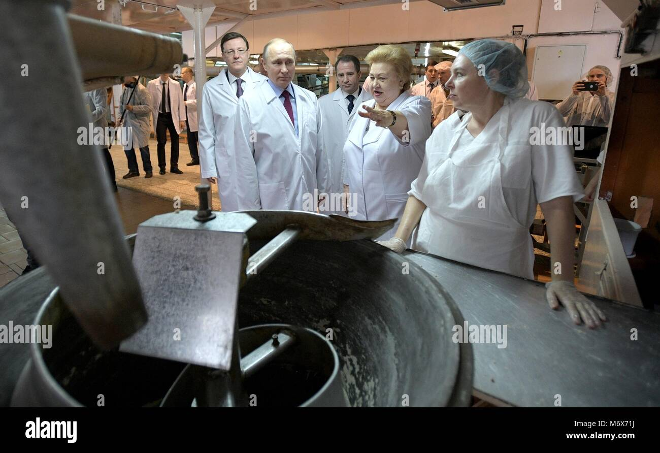 Samara, Russia. 07th Mar, 2018. Russian President Vladimir Putin tours the Samara bakery and confectionery complex - Stock Image