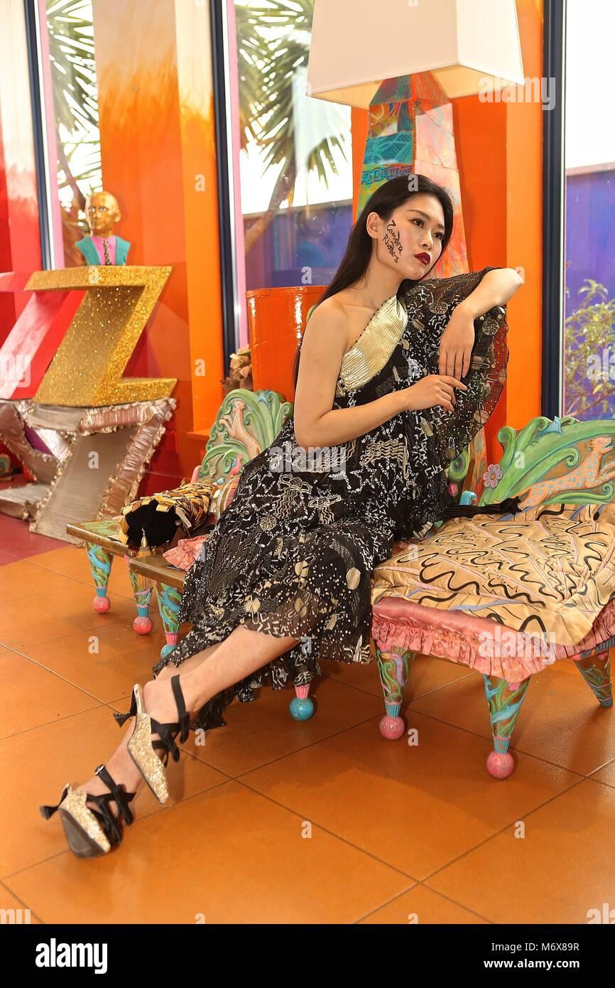 Zandra Rhodes Gowns modeled by Anqui Zhu - Stock Image
