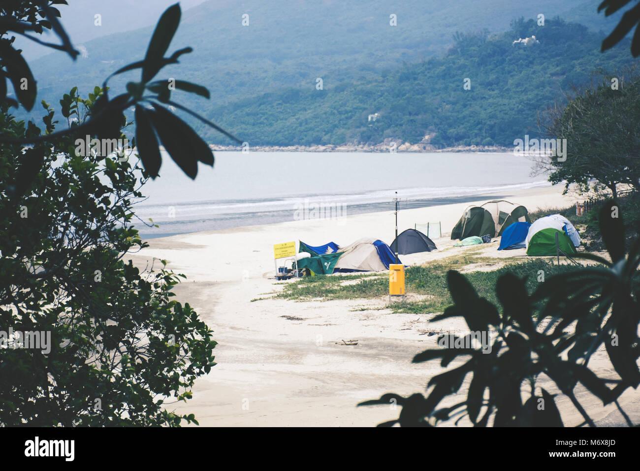 Beach Camping - Stock Image