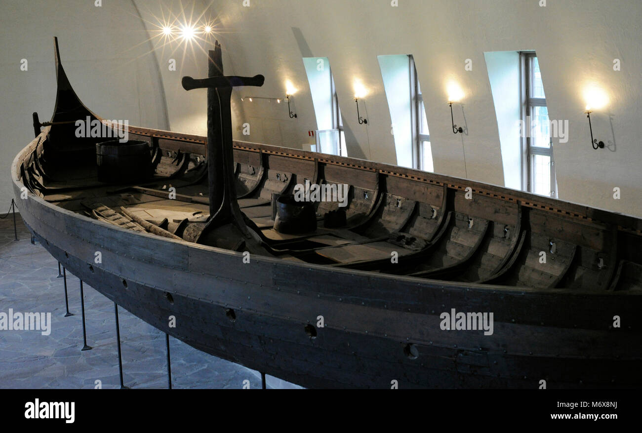 Gokstad ship. Funerary ship, dated in the 890 AD. Oak wood. Found in Sanderfjord, Vestfold. Viking Ship Museum. - Stock Image