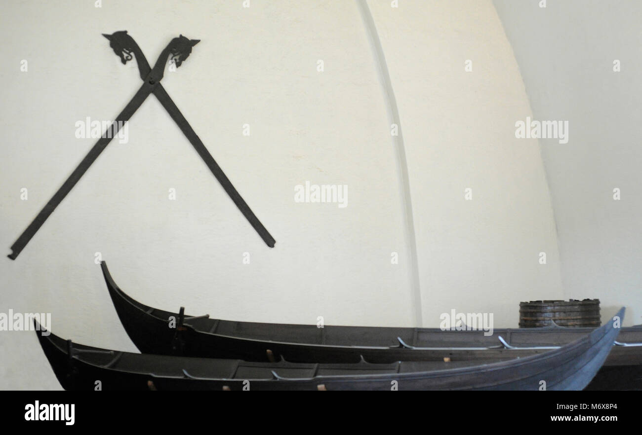 Ship of Tune. Vessel of karve type, dated in the 900 AD. Oak wood. Found in Ostfold, Norway. Viking Ship Museum. - Stock Image