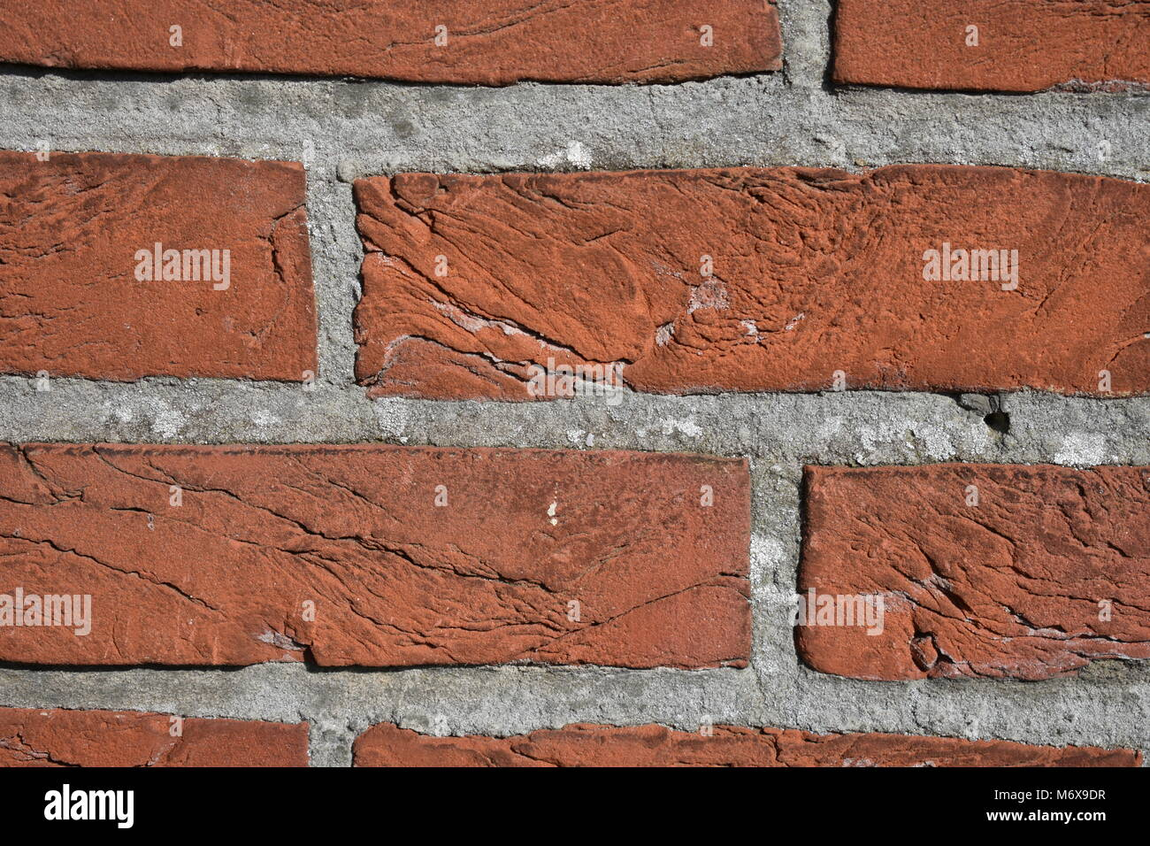Close-up of wall with red bricks and grey joints - Stock Image