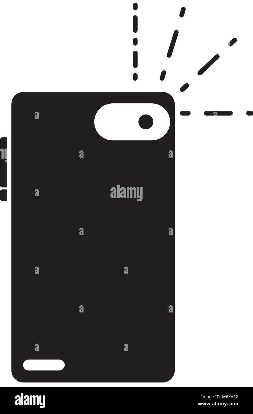 silhouette smartphone in rear position to flash picture vector illustration - Stock Vector