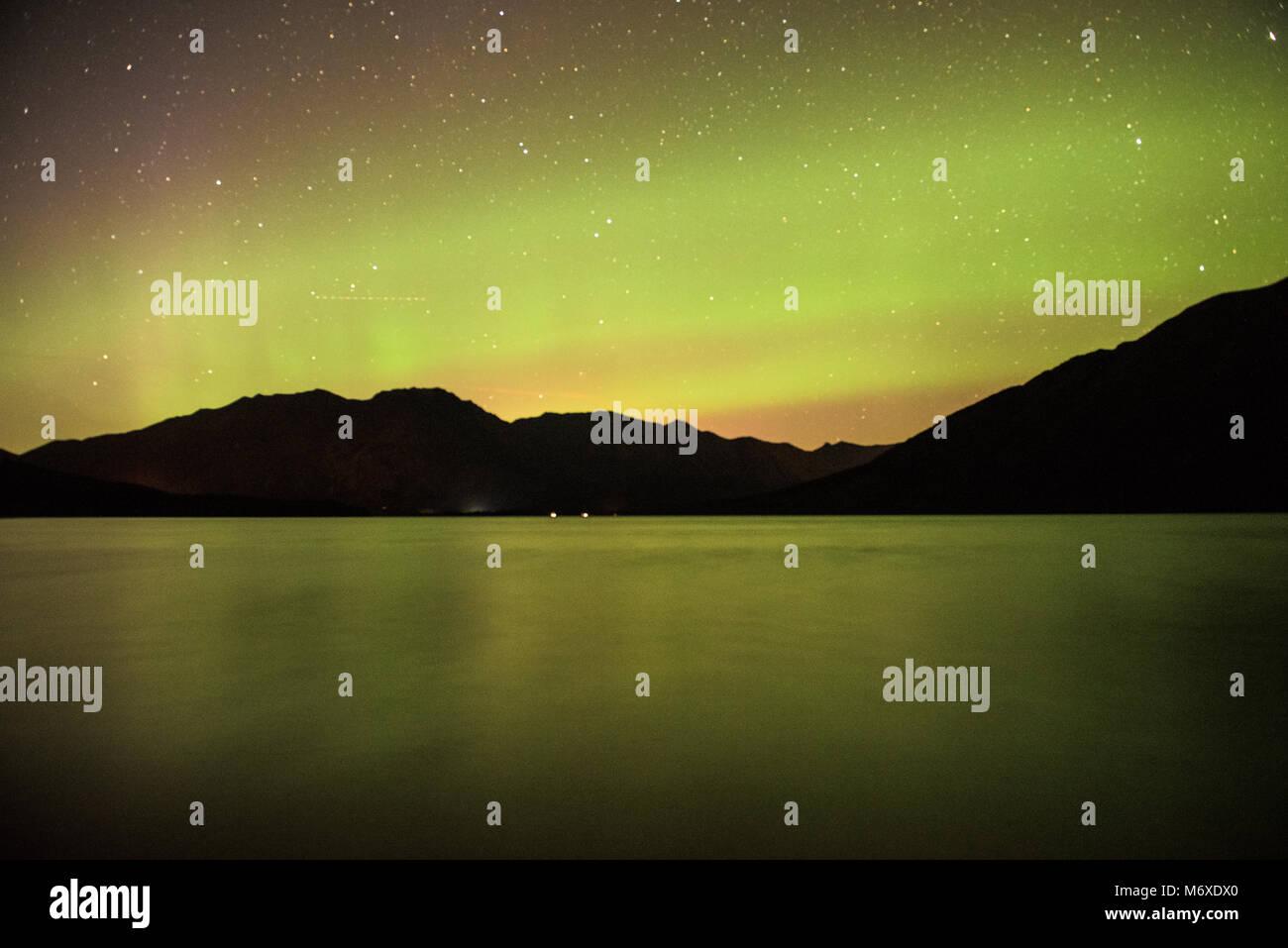 Northern Lights over Kenai Lake - Stock Image