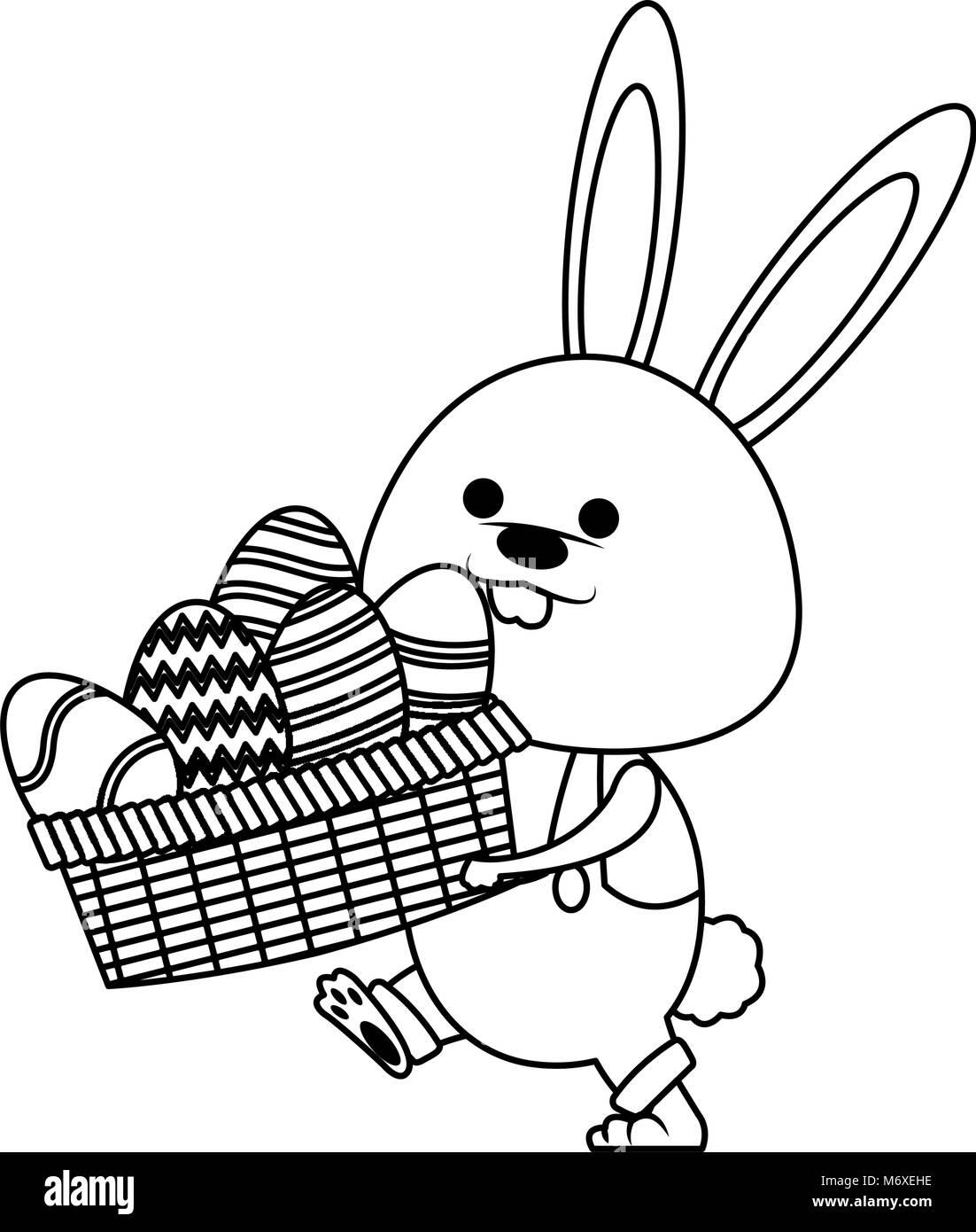 Cute Rabbit Holding Basket With Easter Eggs