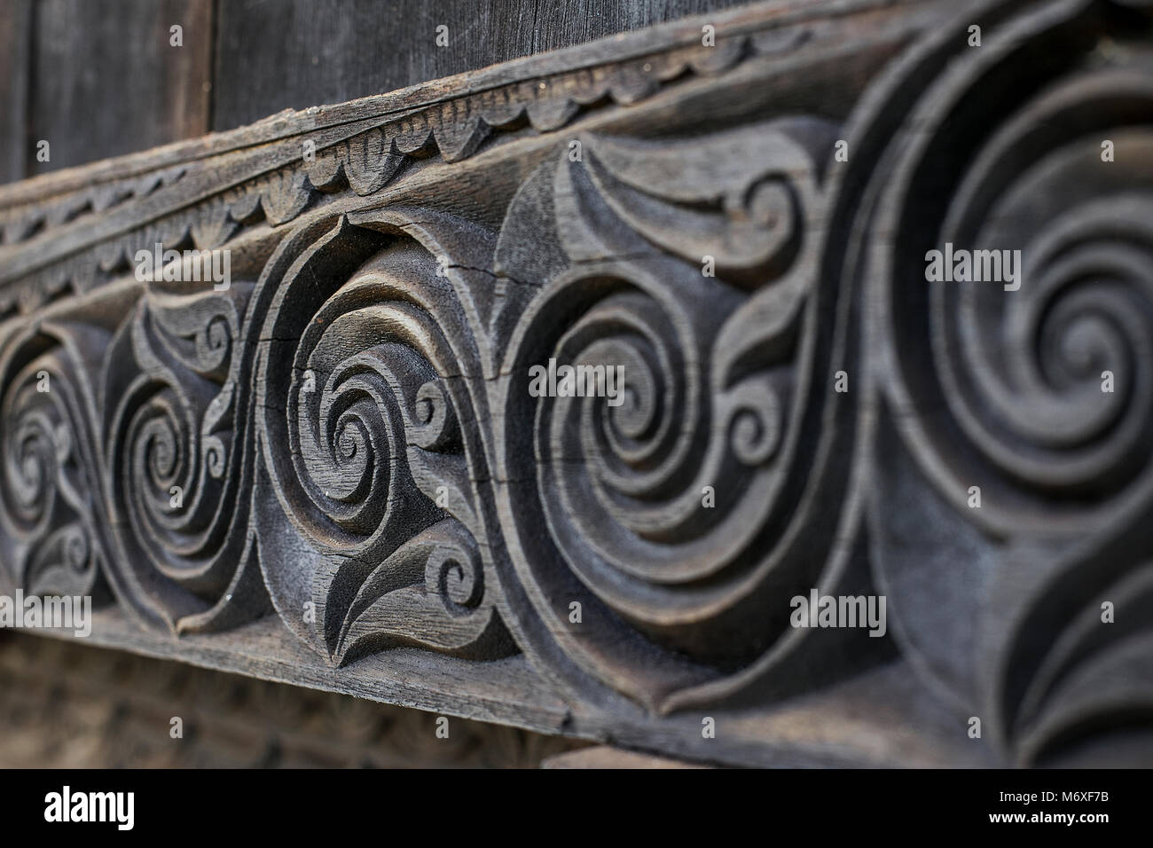 Engrave of Traditional House from Pagaralam - Stock Image