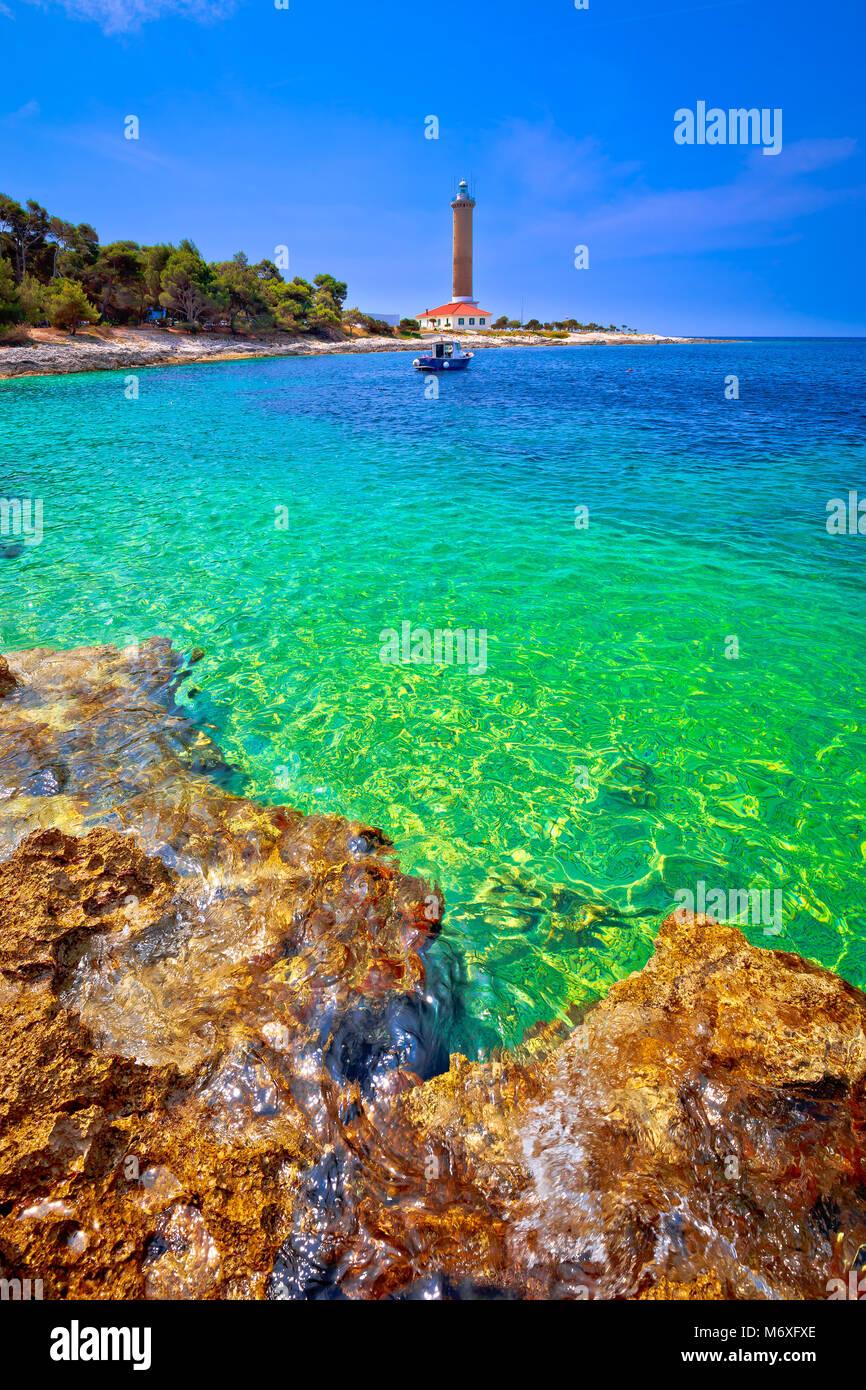Veli Rat lighthouse and turquoise beach view, Dugi Otok island, Dalmatia, Croatia - Stock Image